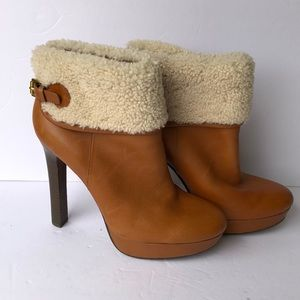 Coach Fur Brown Leather Booties
